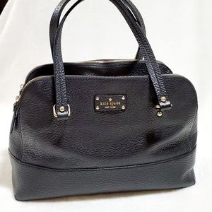 Kate Spade Black Leather Satchel Tote Bag